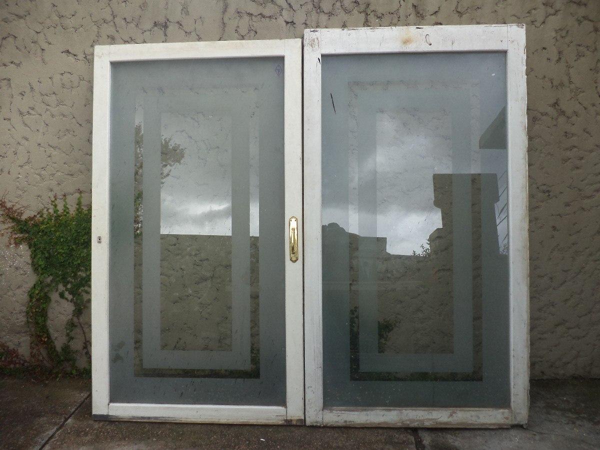 Puertas ventanas madera mampara divisoria vidrio antiguas for Puertas en madera y vidrio