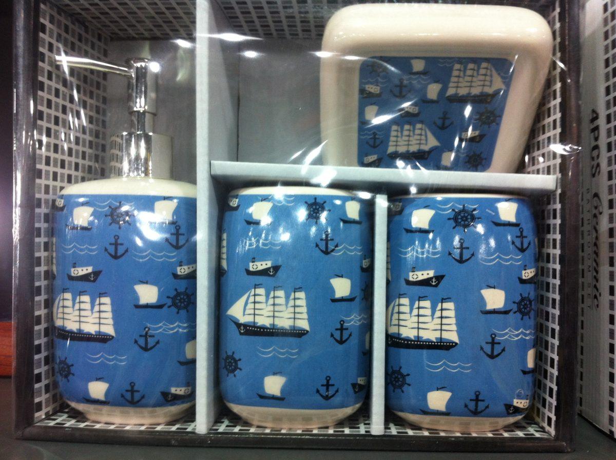 Set De Jabonera Para Baño:Set De Baño De Cerámica 4 Piezas Con Jabonera Varios Diseños – $